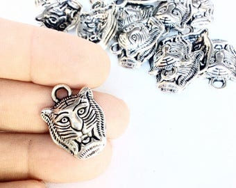 20pc tiger charms in an antiqued silver color  destash lot