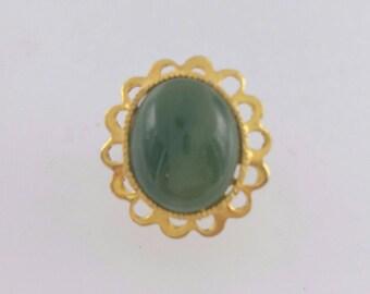 Green Agate Chrysoprase Tie Tack Lapel Pin