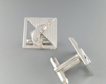 Fish Cufflinks Bass Trout Salmon Fishing Cuff Links Men's Jewelry Accessories Gifts Signed Swank