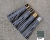 Gray Leather TASSEL in  16mm Gold, Silver, Antique Silver or Antique Brass Plated Cap- Pick your tassel cap