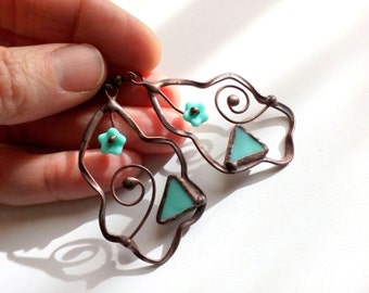 Wire jewelry, stained glass, statement jewelry, gift for women, turquoise blue, gift for mother, unusual earrings, fashion jewelry