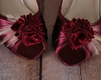 Wedding Shoes, Custom Wedding Shoes, Rose Wedding Flowers, Wine Wedding Shoes, Wedding Shoe Ideas, Peep Toes, Wedges, Wedding Shoe