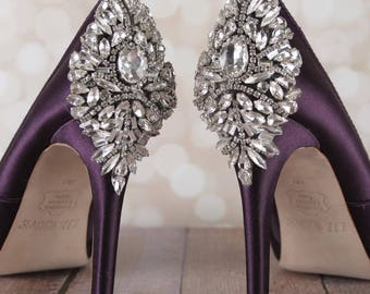 Wedding Shoes, Bridal Heels, Crystal Shoes, Purple Wedding Shoes, Eggplant Wedding, Crystal Heels, Custom Wedding Shoes, Design My Own Shoes