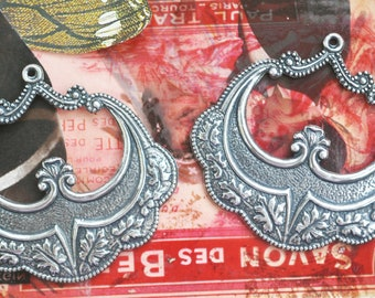 TWO Decorated Brass gypsy hoops, earring pendants, Sterling Silver Ox