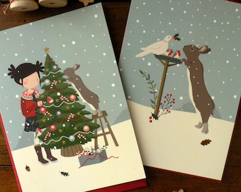 Set of 2 Christmas postcards featuring a little girl and her sweet bunny