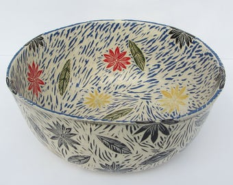 ceramics and pottery serving bowl; hand carved pottery; sgraffito pottery; ceramic flower bowl