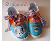 MIAMI DOLPHINS Tennis Shoes Sneakers - football team Professional NFL sports fan theme apparel custom  - womens ladies canvas flats