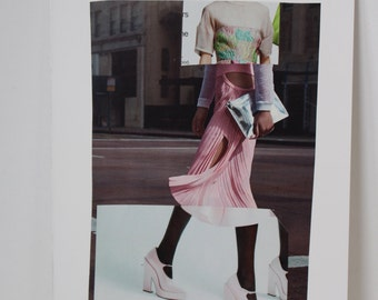 Original Magazine Collage Fashion Illustration // fashion art, collage art, pink, scenic , spliced art, apartment art, art gifts, decor