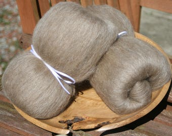 Manx Loaghton / Honey Tussah Silk smooth blended batts - 100g