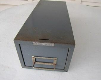 1 Drawer Index Card File Box #102216 Vintage