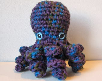 Jewel the Octopus : handmade crochet stuffed purple and teal toy