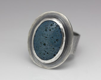 Leland Blue and Sterling Ring, Unisex, Blue Green, Artisan Ring, Size 6.75