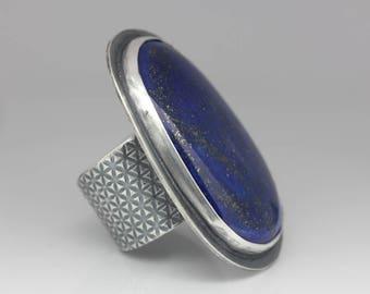 Lapis Lazuli & Sterling Ring, Lapis Statement Ring, Unique Boho Ring, Royal Blue, Size 9-11