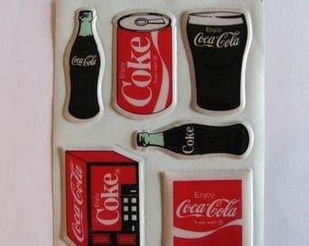 SALE Vintage Hallmark Coca Cola Soda Puffy Sticker Sheet - 80's Pop Beverage Memorabilia Collectible