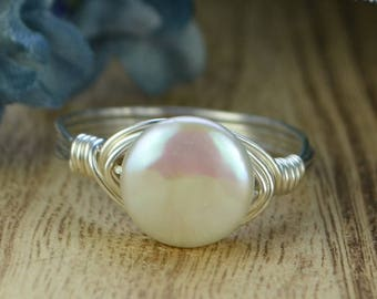 Small Pearl Wrapped Ring -Sterling Silver, Yellow or Rose Gold Filled Wire Wire with White Coin Pearl- Size 4,5,6,7,8,9,10,11,12,13,14