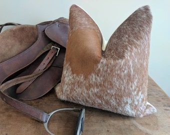 Brazilian Cowhide Pillow Cover fits 20x20 inch pillow / brown and white speckled Hair-on-Cowhide / genuine cowhide pillow cover