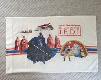 Vintage 80's Return of the Jedi Star Wars Pillowcase