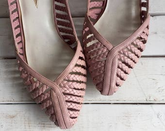 Vintage 80's Pink Blush Braided Leather Pumps 8