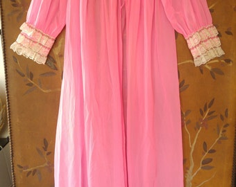 60s neon pink frilly nylon night gown