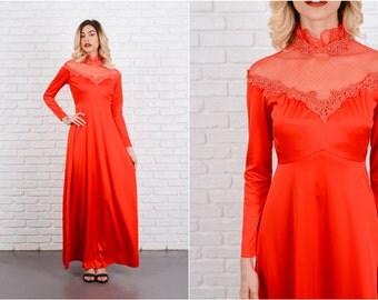 Vintage 70s Red Boho Dress Crochet Lace Victorian Maxi XS 8564 vintage dress 70s dress red dress boho dress crochet dress victorian dress