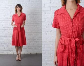 Vintage 70s 80s Red Mod Dress A Line White Polka Dot Print Medium M 9177
