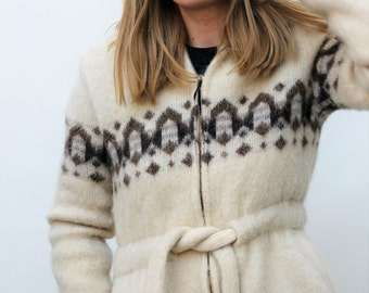 Cream and Brown Nordic Style Belted Wool Coat Size UK 10, US 6, EU 38