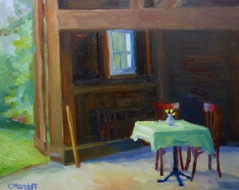 Awaiting Special Guests Small Oil Painting on Canvas