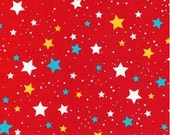 Stars on Red (Primary) from Robert Kaufman's Space Explorers Collection by Ann Kelle