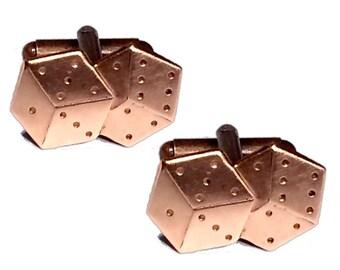 SALE Copper Dice Cufflinks, Men's Handcrafted Gaming Die Cuff Links- Vegas Casino Craps Theme Gambling Gift