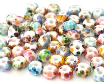 Hundreds and Thousands (58 beads) -  Handmade Lampwork Glass Beads - Round Handmade Glass Bead Set - SRA