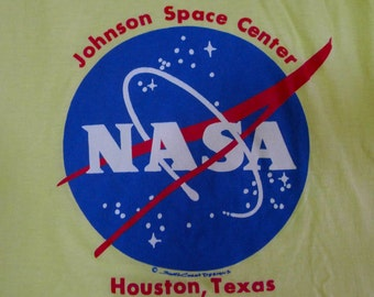 Vintage 80s NASA Johnston Space Center Houston Texas Yellow T-shirt