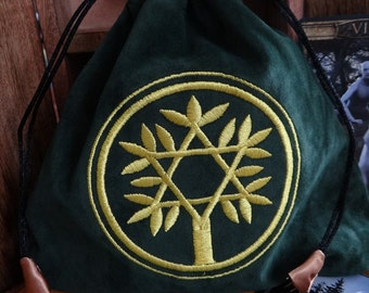 Green Celtic Tree of Life Embroidered Velvet Bag Wiccan Pagan Supplies for Gris Gris Mojo Bags etc.