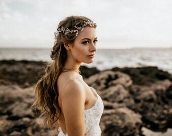 "Wedding Hair Accessory, Beaded Headband, Bridal Headband, Crystal Halo, Boho Bridal Crown ""Maya"""