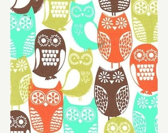 SHOP CLOSING SALE Michael Miller fabric by the yard Swedish Owls in Brown 1 Yard
