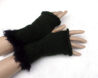 Fingerless gloves, knit green gloves, women arm warmers, mohair fingerless mittens, winter gloves, spring wrist warmers, boho gloves