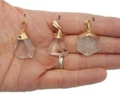 Crystal Quartz Pendant with Electroplated 24k Gold Cap and Bail - Beautiful Shapes with Inclusions - YOU CHOOSE (S70B6-02)