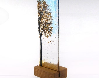 Fused Glass Tree - Brown - In wood stand 23cm x 7.5cm, Gift, Glass Art, Glass Tree, unique gift