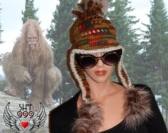 GONE SQUATCHIN' Bigfoot camouflage crochet hat (5th generation) with boa feather earflaps by Shop999, Bigfoot hat, Sasquatch hat