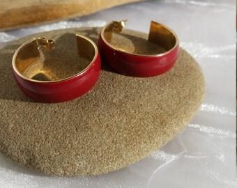 Vintage Red Enamel Hoop Earrings, Pierced Gold Tone