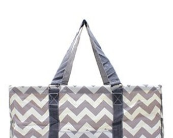 Monogrammed Chevron Utility Tote - TEACHER Bag - Chevron Pattern - GAMEDAY Tote - Carryall Tote -Car Organizer - Summer Tote