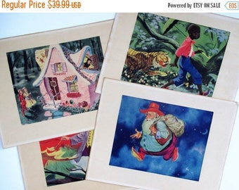 Spring SALE 20% OFF Collection of 4 Vintage Thornton Utz Matted Prints~Little Black Sambo, The Sandman, Hansel and Gretel, Jack Frost Collec