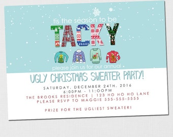 Printable Ugly Christmas Sweater Party Invitation - Ugly Christmas Sweater - Christmas Party Invitation