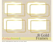 ON SALE Digital Gold frame, Line Frames rectangle Gold clipart, digital scrapbooking frames gold A-2 , gold frame, Instant download