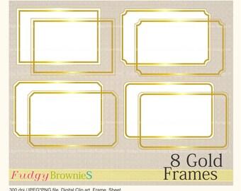 ON SALE Digital Gold frame, Line Frames rectangle Gold clipart, digital scrapbooking frames gold A-2 , gold frame, Instant download