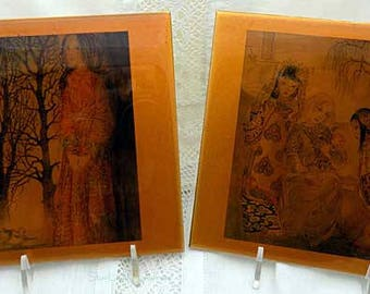 Wonderful Pair of Ethereal Muse/Goddess Ceramic Tiles