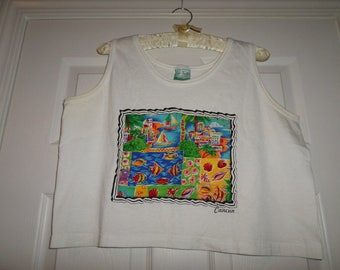 Vintage Crop Top Blouse Cancun White sleeveless Made in USA Shangrila