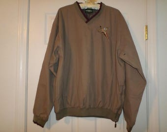 Sale Pullover Shirt Side Zipper Embroidered Pheasant Bird V Neck Lined