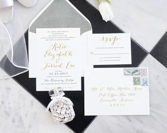 Wedding Invitation, Printable Wedding Invitation, Formal Invitation, Calligraphy Wedding Invitation, Gold, DIY Wedding Invitation - #S35