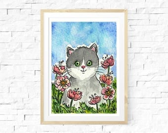 Cat Watercolour, Aceo Original Art