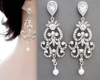 Vintage style brides earrings, Pearl wedding earrings, Long pearl earrings, Crystal chandelier earrings, Victorian style earrings, ALEXIS